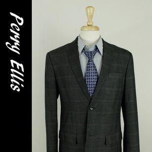 Perry Ellis L (42R) Gray Check 2B Sport Coat 32-2